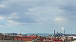 Bridge over the river. Gothenburg, Sweden. Time La Stock Video Footage