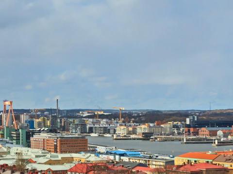 Clouds over the port city. Gothenburg, Sweden. Tim Footage