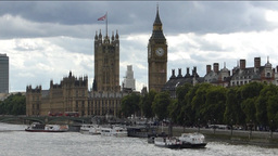 View of River Thames and Big Ben, London, UK. (LON Stock Video Footage