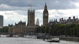 View Of River Thames And Big Ben, London, UK. (LON stock footage