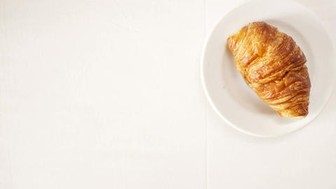 Coffee And Croissant For Breakfast stock footage