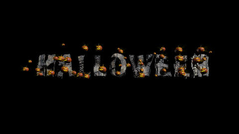 Halloween Title with Pumpkins Stock Video Footage