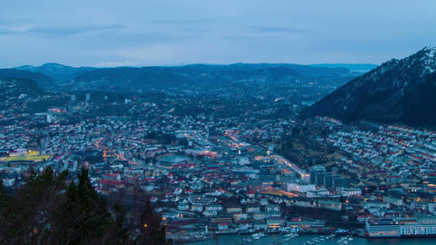 Sunset over the city. Bergen, Norway Stock Video Footage