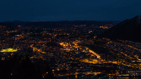 Sunset over the city. Bergen, Norway Footage