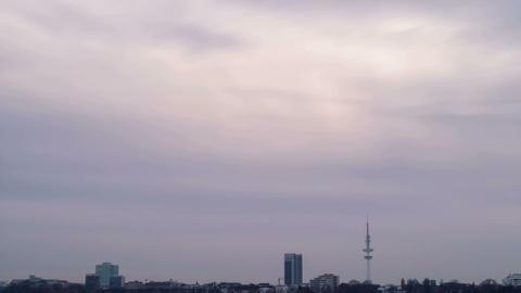 Quay Hamburg. Night fell Stock Video Footage
