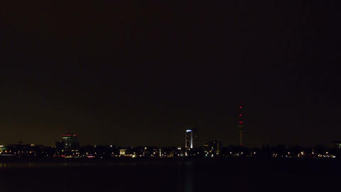 Quay Hamburg. Night fell. Time Lapse Footage