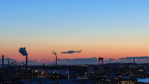 Sunset over the city. Gothenburg, Sweden. Time Lap Footage