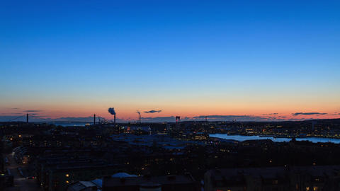 Sunset over the port. Gothenburg, Sweden. Time Lap Stock Video Footage