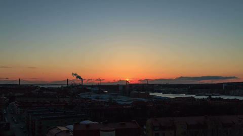 Sunset over the port. Gothenburg, Sweden. Time Lap Footage
