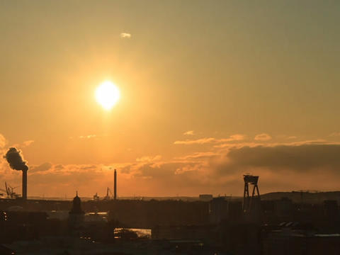 From sunset to the panorama. Gothenburg, Sweden. T Stock Video Footage