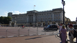 Police patrolling near Buckingham Palace & heading Stock Video Footage