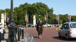 Police on horse heading towards Buckingham Palace Stock Video Footage