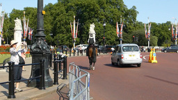 Police on horse heading towards Buckingham Palace Footage