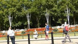 View of UK London Queen Victoria Memorial Gardens Stock Video Footage