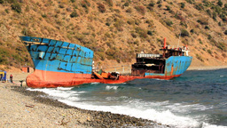 DISMANTLEMENT OF WRECKED SHIP stock footage