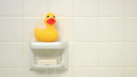 Rubber Duck Shower Stock Video Footage