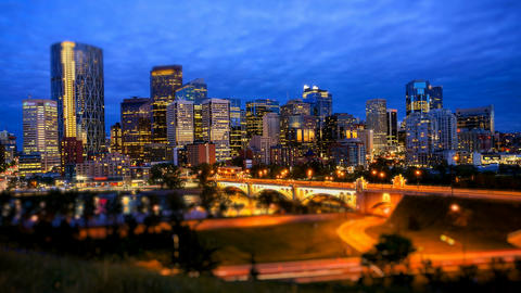 Calgary Skyline at Night, Time Lapse Footage