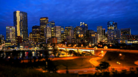 Calgary Skyline at Night, Time Lapse Stock Video Footage