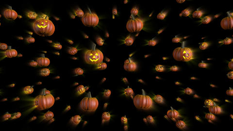 Halloween Pumpkins Falling Background, Stock Animation
