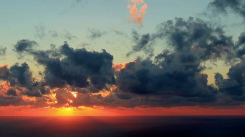 Timelapse sunset on the sea. Earthquake. FULL HD Footage