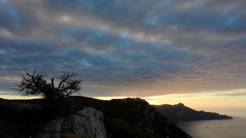 Timelapse sunrise in the mountains Koosh-Kaya. Cri Footage