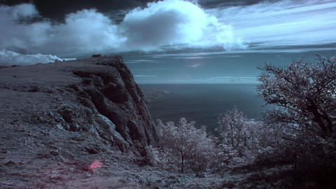 InfraRed landscape: Movement of the clouds on the Footage