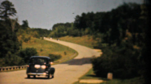 Old Cars Driving Down The Highway 1940 Vintage 8mm Footage