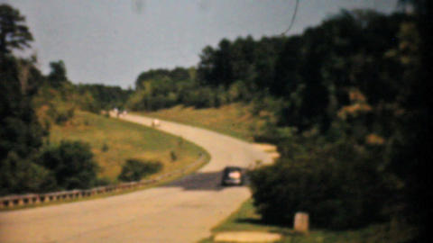 Old Cars Driving Down The Highway 1940 Vintage 8mm Stock Video Footage