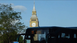 ZOOM OUT VIEW OF BIG BEN, CLOCK TOWER, LONDON, UK. stock footage
