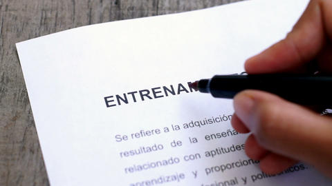 Circling Training with a pen (In Spanish) Stock Video Footage