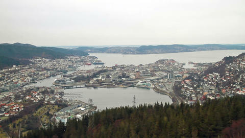 View from the cabin funicular. Bergen, Norway Footage