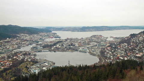 View from the cabin funicular. Bergen, Norway Stock Video Footage