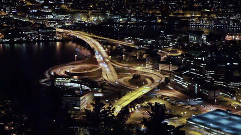 View Of The Ring Road. Night, Bergen, Norway stock footage