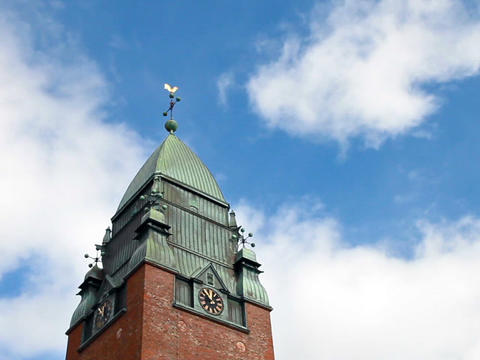 Clouds Float Above The Clock Tower. Goteborg, Swed stock footage