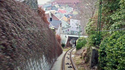 View from the cabin funicular. Floibanen, Bergen, Stock Video Footage