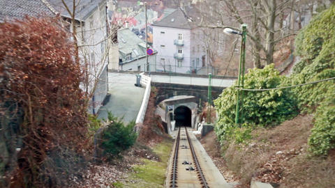 View from the cabin funicular. Floibanen, Bergen,  Footage