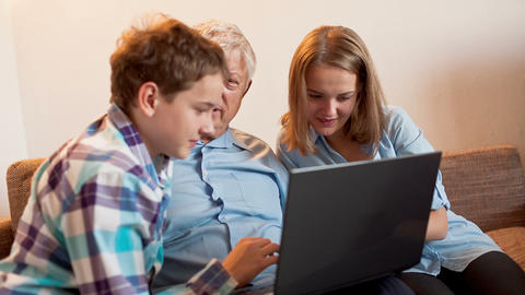 Teenagers and Old Persons Learn Laptop Stock Video Footage