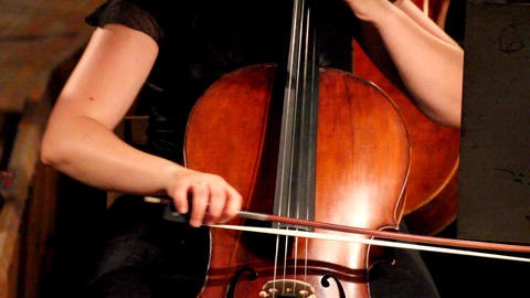close-up view on violoncello in orchestra Footage