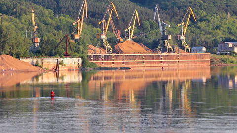 Port Cranes On The River stock footage