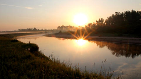 landscape with sunrise over river Footage
