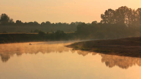 Landscape With Fishing At Dawn On River stock footage