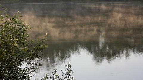 morning with mist over river Stock Video Footage