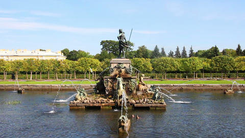 Neptune fountain in petergof park Saint-Petersburg Stock Video Footage