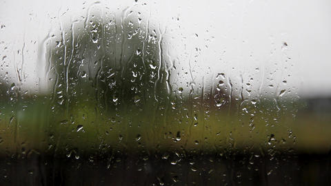 glass windows in the village with raindrops Stock Video Footage