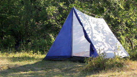 camping - tent in forest Stock Video Footage