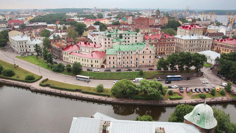 Vyborg in Russia - view from height of medieval to Stock Video Footage