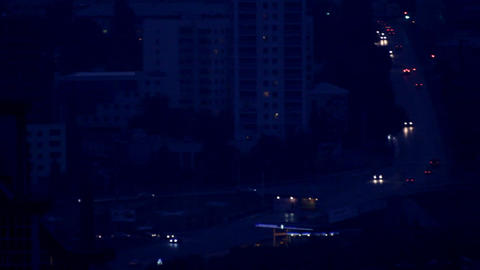 traffic on night roads with headlights Stock Video Footage