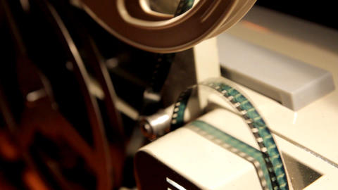 old projector showing film close-up Stock Video Footage
