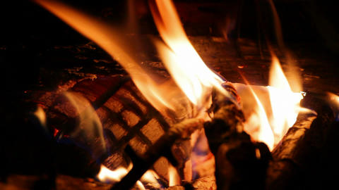 close-up view on flame at night Stock Video Footage