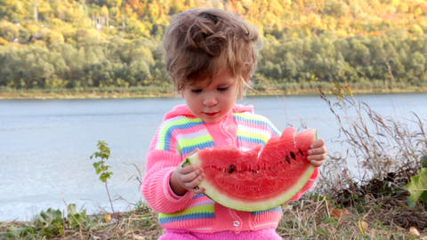 baby eating ripe watermelon Stock Video Footage